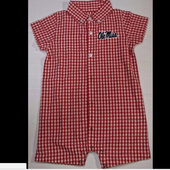 8beec5dca168 Baby Romper Red and White Gingham Ole Miss